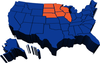 Blue map of the United States with ND, SD, NE, MN, IA, WI, and IL highlighted in orange to reflect Eilen & Sons Trucking service area